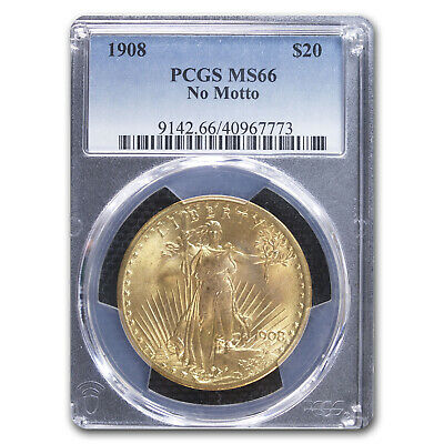 1908 $20 Saint-Gaudens Gold Double Eagle No Motto MS-66 PCGS - SKU #18041