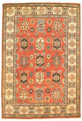 "Hand-knotted Carpet 4'0"" x 5'10"" Finest Gazni Traditional  Rug"