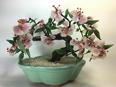 Vintage Jade Colored Glass Sakura Cherry Blossom Potted Bonsai Tree Decor