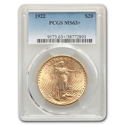 1922 $20 Saint-Gaudens Gold Double Eagle MS-63+ PCGS - SKU#176640