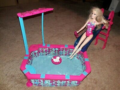 Barbie Glam Pool Playset with Slide Dog & Floaty (doll not included)