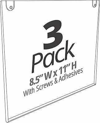 Mammoth Acrylic Paper Sign Holder with Screws and Adhesives (Landscape 3 Pack)