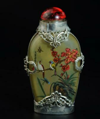 Old Miao Silver inlay Glass painted springtime flower bird snuff bottle /Ba02