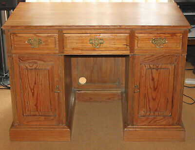 Gorgeous Pitch Pine Twin Pedestal Small Antique Desk Lovely Piece Solid Pine