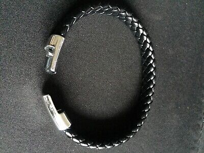Mens Genuine Flat Leather Braided Wristband Bracelet,Steel Magnetic Clasp, Thick