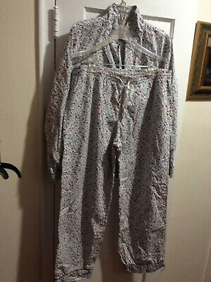 LOVE BY GAP POPLIN FLORAL  PAJAMAS SLEEPWEAR 2 Pc PANTS SHIRT SZ. LARGE