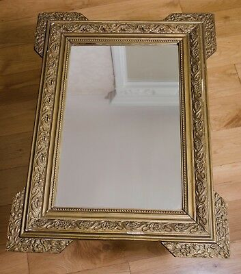 Antique French mirror with distressed frame ornate wood gesso