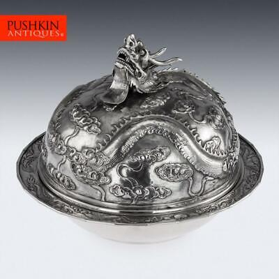 ANTIQUE 20thC CHINESE EXPORT SOLID SILVER DRAGON MUFFIN DISH, JIA JI c.1900