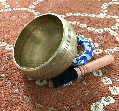 5.25 Inches Professional Quality Hand Hammered Embossed Tibetan Singing Bowl Set
