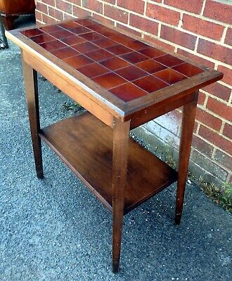 Edwardian antique Arts & Crafts solid mahogany tile top console hall side table