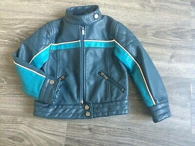 Girls NEXT Faux Leather Biker Jacket Blue  Age 5 Years 110cm