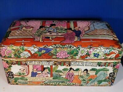 Oriental Chinese Famille Rose Canton Porcelain Box With Enamels Qianlong Marked