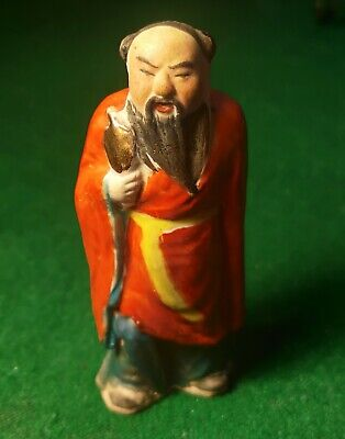 Vintage Antique CHINESE HAND PAINTED Ceramic Wiseman Figurine Statue Man - Nice!
