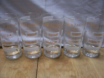 """Old Forester Bourbon Whiskey """"With Soda and Water"""" Set of 5 Hi-Ball Glasses Mint"""