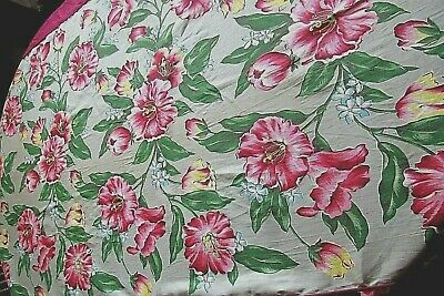 1940's/50's SOFA/DIVAN COVER,BOLD FLORAL COTTON TWILL,NEW OLD STOCK,EXCELLENT