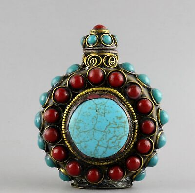 Collect Antique Bronze Inlay Turquoise Hand-Carved Delicate Noble Snuff Bottle