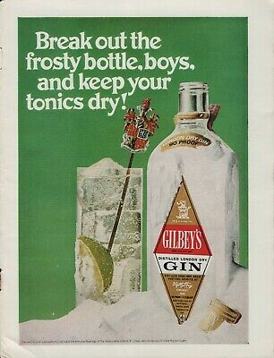1969 Gilbey's Dry Gin 90 Proof Tonic Swizzle Stick Vintage Color Photo Print Ad