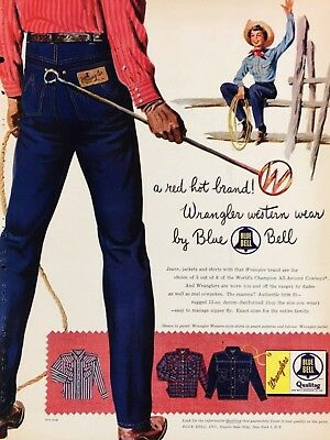 1954 Wrangler Blue Bell Jeans Jackets & Shirts Branding Stick Cowgirl Print Ad