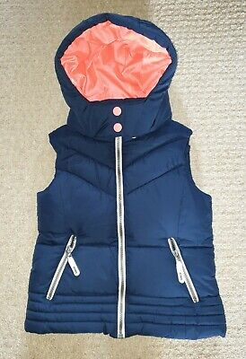 Next Girls Navy Blue Hooded Gilet Bodywarmer - Age 8 Years.