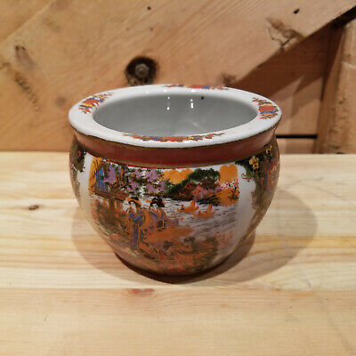 Colorful Flower/Plant Pot/Planter w/ Asian Paintings - Swanky Barn