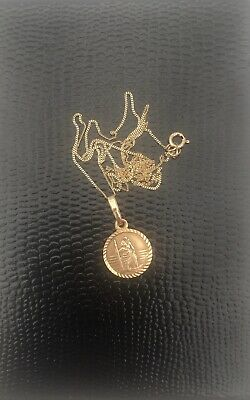 Solid 9ct Yellow Gold 12mm 3D Round St Christopher Medal Pendant In Gift Box