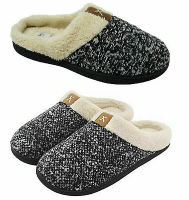 Ladies Womens Memory Foam Warm Faux Slippers Slip On Clog Mules Shoes SIZE 3-4