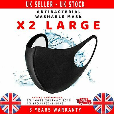 2X  Face Mask Mouth Nose Breathable Washable Antibacteriel Large Size