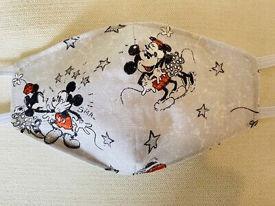 Adult Disney Mickey and Minie 100% cotton Face Mask Homemade 3 layers Washable