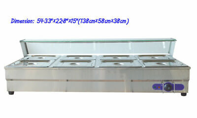 8 Pans Hot Well Bain-Marie Buffet Steam Table Food Warmer Sneeze Guard 110V