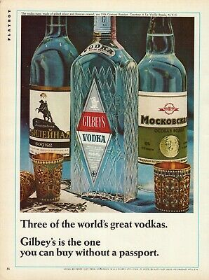 1966 3 Of the World's Greatest Vodkas Gilbey's Is the One Empty Bottles Print Ad