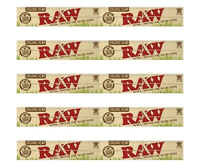 10 Packs Raw Organic Hemp King Size Slim Natural Unrefined Rolling Papers