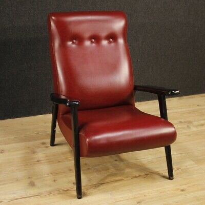 Armchair Furniture Wooden Chair and Artificial Skin Red Room Design Vintage 900