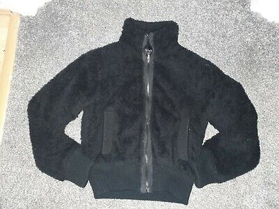 Girls furry Coat/fluffy jacket. Age 13 years. Black. Zip up