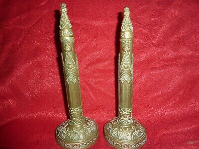 Early 19Thc Day's Birmingham Gothic Revival 22.8Cm Brass Chimney Ornaments Decor
