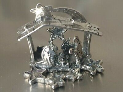 Vintage Solid Silver Italian made miniature of a Nativity Scene.