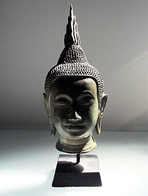 Antique/Vintage Old Buddha Bronze Head Bust Sukhothai 24cm 9 1/2""