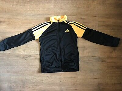 ADIDAS childs Tracksuit Zip Up Black And Orange Tracksuit Top Age 9-10