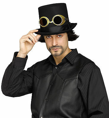 Steampunk Cosplay Edwardian Victorian Black Top Hat with Goggles