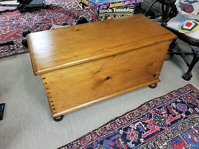 antique hand made pine blanket chest  on turned legs; dovetailing; singe boards!