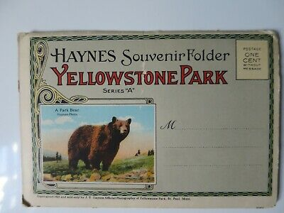 "Yellowstone Park Haynes Series ""A"" Folder Postcard - Vintage Unused 1921"