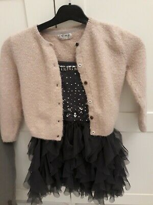 Girls' Sequin Party Dress with full skirt, Age 5 Next Signature Range, Grey
