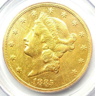 1885-CC Liberty Gold Double Eagle $20 Carson City Coin. PCGS Genuine - AU Detail