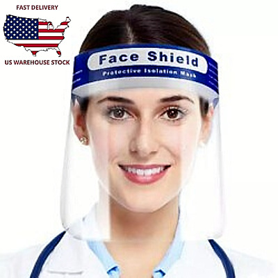 US Safety Full Face Shield Guard Protect Mask Clear Anti-Fog Reusable Free Gift