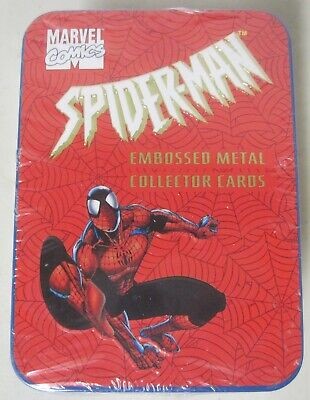 SEALED 1996 MARVEL COMICS SPIDER-MAN FIVE EMBOSSED METAL COLLECTOR CARDS in TIN