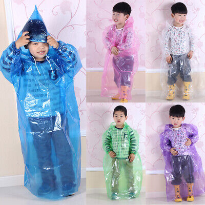 Kids Children Raincoat Disposable Waterproof Hooded Rain Coat Outerwear Poncho
