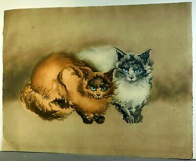 Vintage Modern Color Etching Deux Chats BLUE EYED CATS Pervez Captain Signed