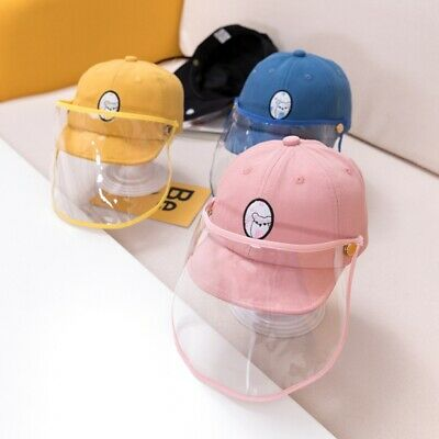Cute Baby Kids Removable Droplet Hat Baseball Cap +Transparent Face Shield