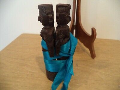 "Antique Asian Wood Hand Carved Figures man And Woman Indonesian? 7"" TALL READ"