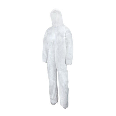 Wasip Heavy-Duty white Disposable Polypropylene Coveralls Size Large