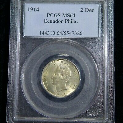 1914 Ecuador 2 Decimos Silver Coin - Pcgs Ms64 - Minted In Philadelphia Usa!